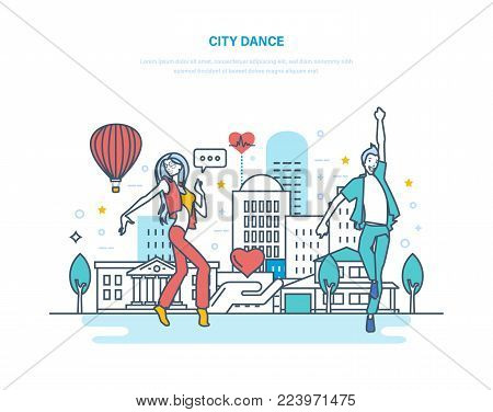 City dance. Young couple dancing popular dance in recreation park, against background of city, in warm summer weather. Active way of life, dancing and jumping in street. Illustration thin line design.