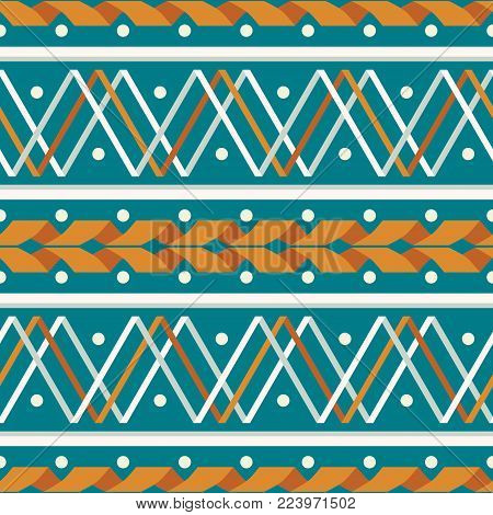 Seamless abstract geometric pattern of wide stripes with serpentine, zigzag and dots in retro color palette