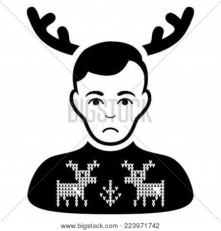 Unhappy Deers Pullover Horned Husband vector pictogram. Style is flat graphic black symbol with depressed sentiment.