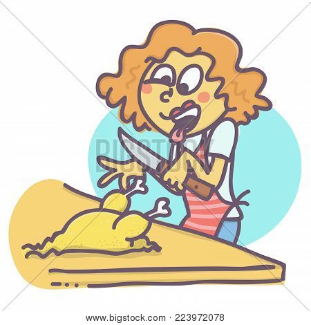 Funny vector cartoon of woman cutting poultry with disgust face expression.