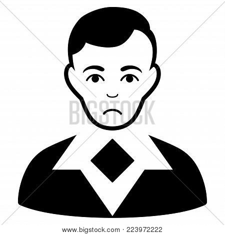 Dolor Man vector pictogram. Style is flat graphic black symbol with dolor expression.