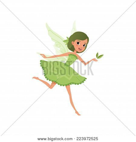 Fantasy forest fairy with green hair in little fancy dress. Imaginary fairytale character in action. Cute smiling girl with magic wings. Cartoon flat vector illustration isolated on white background.