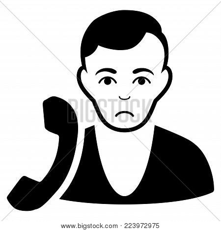 Sad Receptionist vector pictogram. Style is flat graphic black symbol with grief emotions.