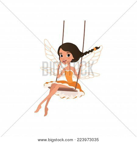 Smiling fairy with magic wings. Cartoon girl character sitting on swing. Pixie in little orange dress. Magical creature from fairy tale. Colorful flat vector illustration isolated on white background.
