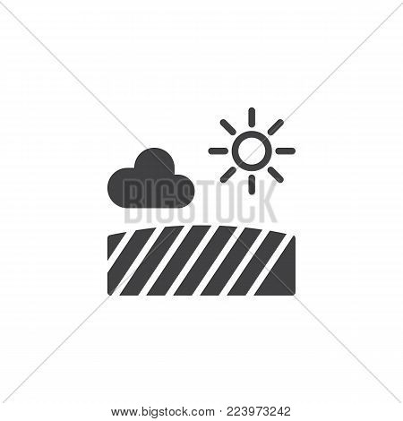 Field with sun cloud icon vector, filled flat sign, solid pictogram isolated on white. Farm field symbol, logo illustration.