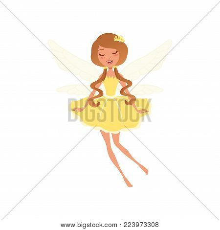 Smiling fairy with long brown hair in fancy yellow dress. Beautiful fairytale character with little magic wings. Cartoon girl in flying action. Colorful flat vector illustration isolated on white.