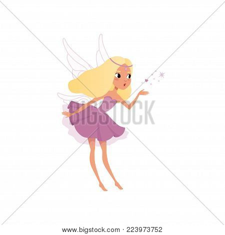 Cute fairy with long blond hair spreading magical dust. Pixie girl in fancy purple dress with wings. Little mythical creature. Imaginary fairytale character. Flat vector design isolated on white.