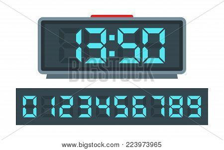 Blue digital clock and set of glowing numbers. Vector Illustration