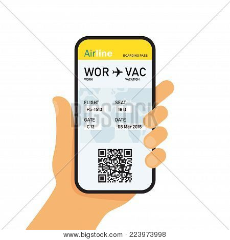 Boarding pass in mobile phone. Hand holding smart phone with airline ticket online booking on screen. Vector Illustration