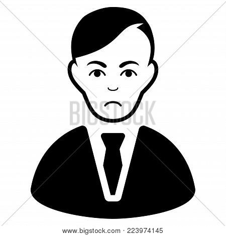 Sad Businessman vector pictogram. Style is flat graphic black symbol with sad feeling.