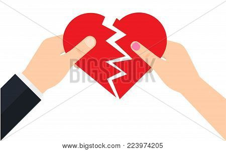 Man and a female are holding two half of a broken heart. Crisis relationship divorce. Unhappy love. Vector illustration