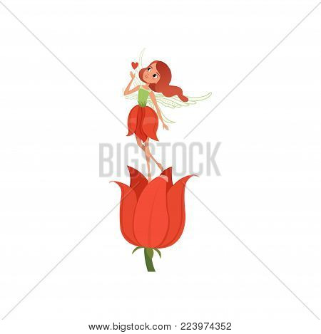 Lovely fairy with little magic wings hovering over beautiful red tulip. Girl wearing fancy flower shaped dress. Fairytale character in flat style. Cartoon vector design isolated on white background.