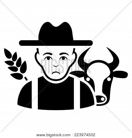 Sadly Farmer vector pictogram. Style is flat graphic black symbol with sadness emotion.