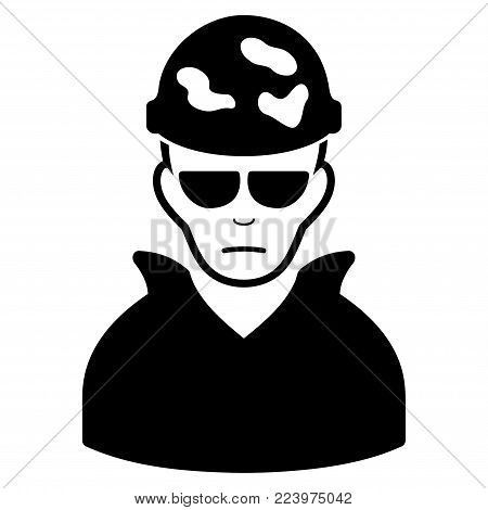 Dolor Soldier vector pictogram. Style is flat graphic black symbol with dolor emotion.