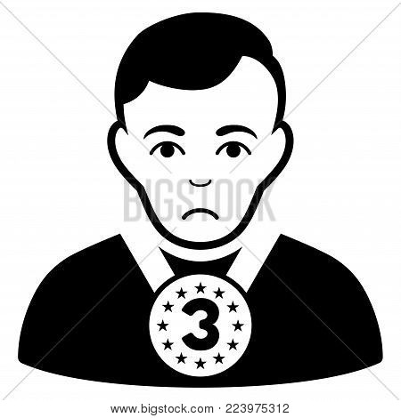 Unhappy 3rd Prizer Sportsman vector pictograph. Style is flat graphic black symbol with depression emotions.