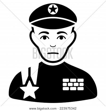 Sad Army General vector pictogram. Style is flat graphic black symbol with sorrow mood.