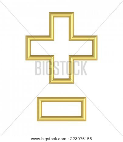 Hyphen, minus, plus marks from white with gold shiny frame alphabet set, isolated on white. 3D illustration.