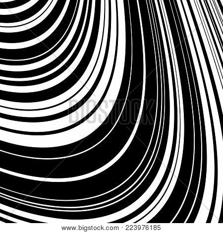 Abstract Wave Element for Design, Stylized Line Art Background,  Curved Wavy Line, Smooth Wave Stripe Background, Black and White Wave Stripe Optical Abstract Design, Vector Background, Curved Lines