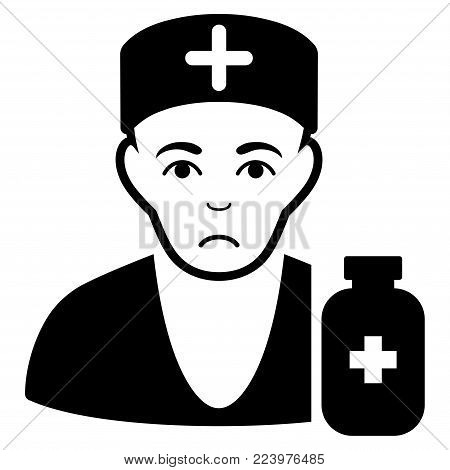 Sad Apothecary Doctor vector pictogram. Style is flat graphic black symbol with mourning feeling.