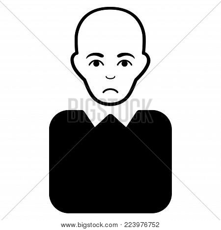 Dolor Bald Bureaucrat vector icon. Style is flat graphic black symbol with dolor expression.