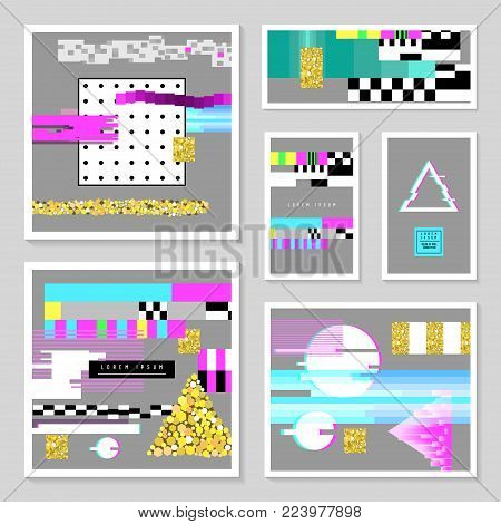 Glitch Design Poster Templates Set. Cyberpunk Digital Background with Geometric Gradient Elements. Abstract Composition for Fabric Fashion 80s-90s, Flyers, Cover. Vector illustration