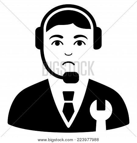 Dolor Call Center Boss vector pictogram. Style is flat graphic black symbol with dolor mood.