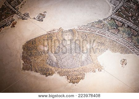 Istanbul, Turkey - January 15, 2018: Interior And Ancient Mosaic In The Church Of The Holy Saviour I