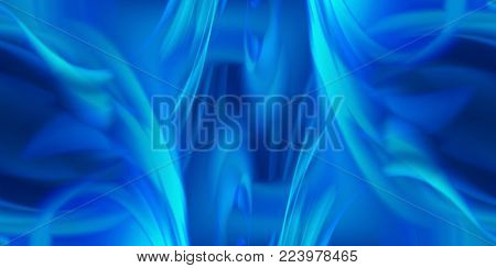 blue abstract background of luminous waves