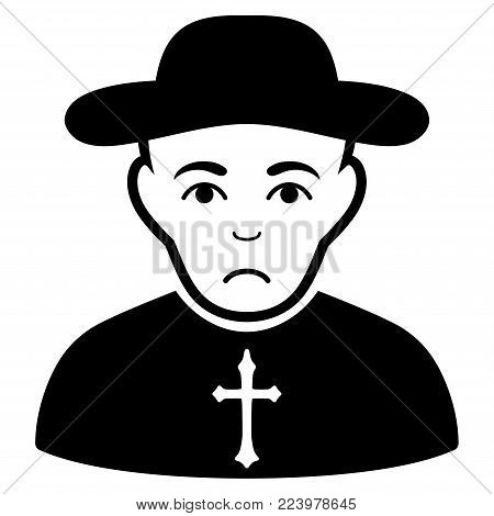 Sadly Christian Priest vector icon. Style is flat graphic black symbol with depressed emotions.