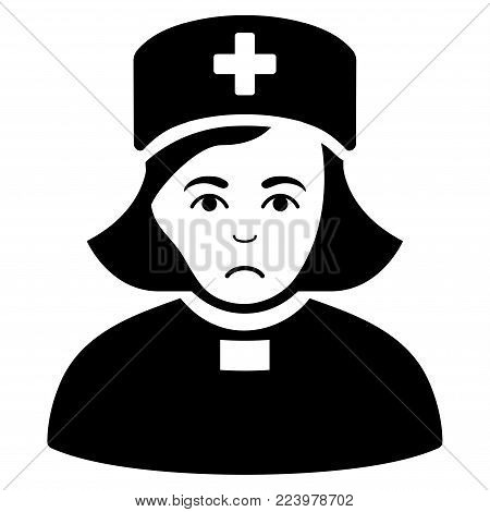 Unhappy Church Female Doctor vector pictogram. Style is flat graphic black symbol with affliction sentiment.