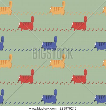 Seamless Pattern With Thick Cats