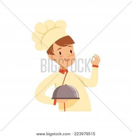 Chef cook character with cloche, boy in the costume of cook vector Illustration on a white background