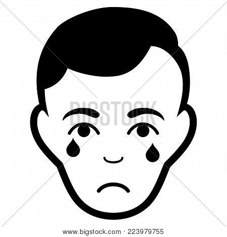 Sadly Crying Man Face vector pictograph. Style is flat graphic black symbol with depressed emotions.