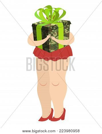 February 23. Woman giving military gift box. Traditional gift for men on Day of Defender of Fatherland in Russia.