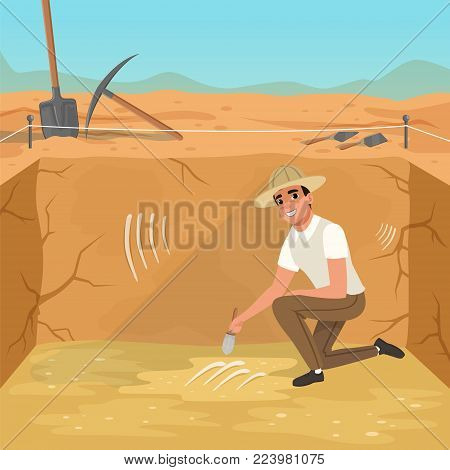 Cartoon man sitting on one knee in square pit. Paleontologist sweeping dirt from skeleton s bones. Excavations of ancient burial. Archaeological tools. Sky and desert on background. Flat vector design