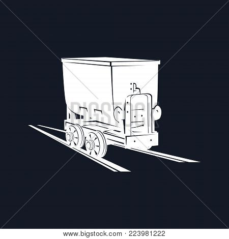 Silhouette Coal Mine Trolley on a Black Background ,Mining Industry, Vector Illustration