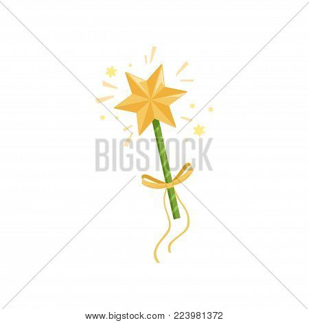 Colorful icon of fairy s wand with big golden star and yellow bow. Magic stick spreading bright sparkling lights. Witchcraft concept. Cartoon flat vector illustration isolated on white background.
