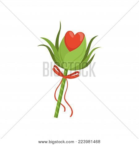 Forest fairy s wand with green leaves, red heart and bow with ribbons. Stick with magical power. Witchcraft concept. Graphic decorative element. Colorful flat vector illustration isolated on white.