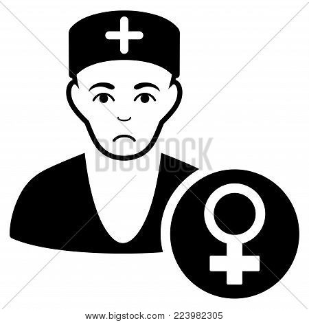 Sad Gynecologist Doctor vector icon. Style is flat graphic black symbol with sorrow emotions.