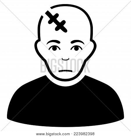 Pitiful Head Hurt vector pictograph. Style is flat graphic black symbol with dolor emotion.