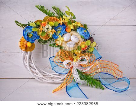 Handmade Wreath. Wicker Wreath. Interior Decoration. The Wreath Is Decorated With Flowers And Quail