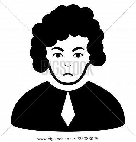 Sad Judge vector pictograph. Style is flat graphic black symbol with problem expression.