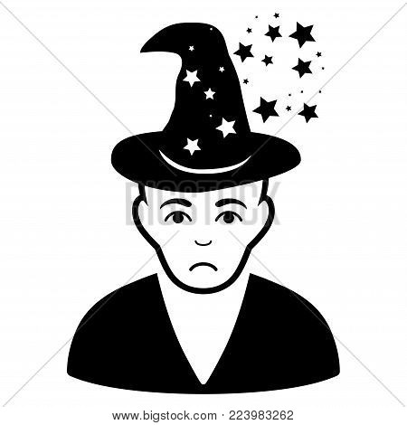 Dolor Magic Master vector pictogram. Style is flat graphic black symbol with sorrow sentiment.