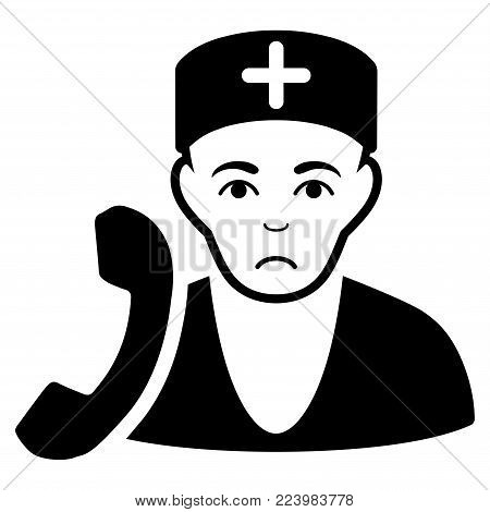 Unhappy Medical Receptionist vector pictogram. Style is flat graphic black symbol with desperate sentiment.