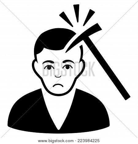 Sad Murder With Hammer vector icon. Style is flat graphic black symbol with stress emotion.
