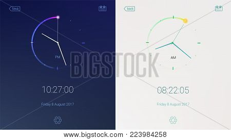 Clock application on light and dark background. Concept of UI design, day and night variants. Digital countdown app, user interface kit, mobile clock interface. UI elements, 3D illustration