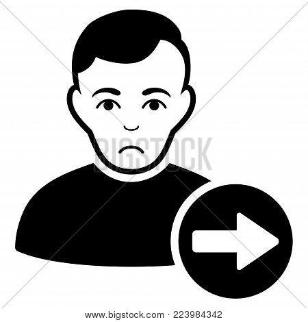 Pitiful Next User vector pictogram. Style is flat graphic black symbol with pitiful feeling.