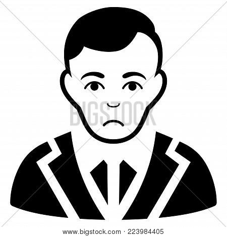 Sad Noble Gentleman vector pictograph. Style is flat graphic black symbol with grief feeling.