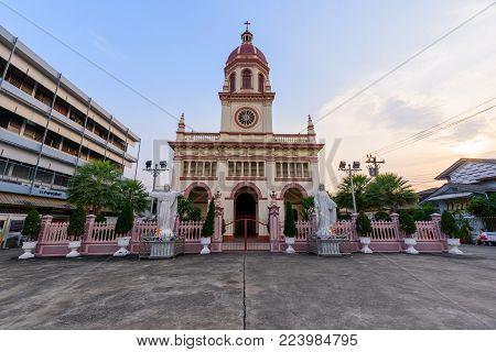 Bangkok , Thailand - 25 January, 2018: Exterior of Christ Church architecture at Santa Cruz church