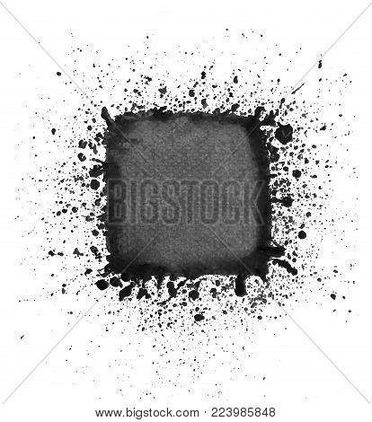 Black watercolor square of splashes, design element. Vector illustration